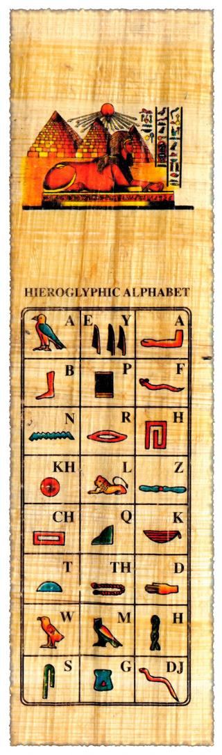 Ägyptischer Papyrus mit Hieroglyphen Alphabet