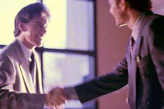Geschäftsmänner, Handschlag, Büro, Meeting