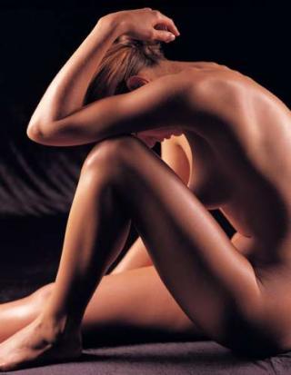 Hautfplege, nakte Frau