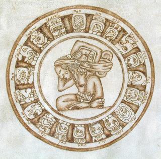 Maya - Kalender auf Leder gebrannt.