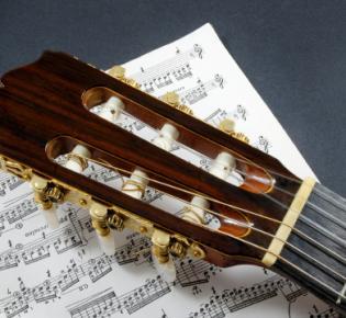 Gitarre auf Notenblatt