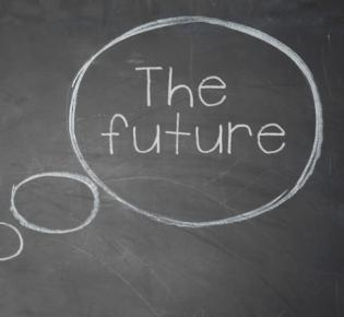 "Denkblase auf Tafel ""The future"""